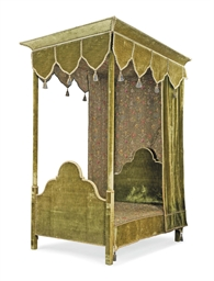 a green velvet and embroidered tester bed early 20th. Black Bedroom Furniture Sets. Home Design Ideas