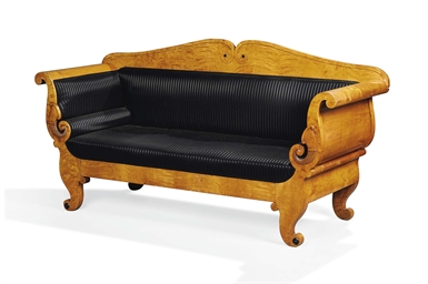 A German Biedermeier Satin Birch Sofa Early 19th Century