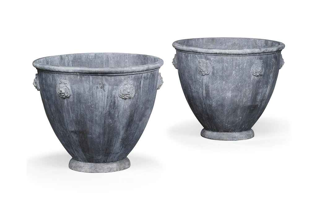 A pair of lead planters modern christie 39 s for Lead planters for sale