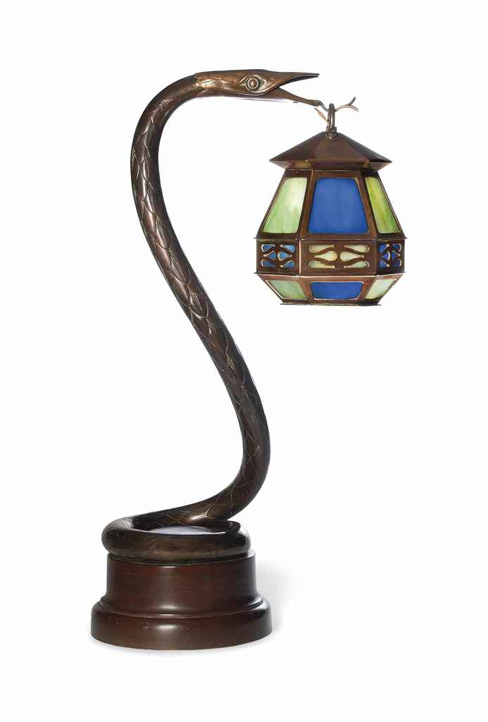 AN ART NOUVEAU COPPER AND GLASS 'SNAKE' TABLE LAMP , CIRCA ...