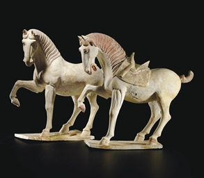 A Pair Of Painted Pottery Figures Of Horses Tang Dynasty