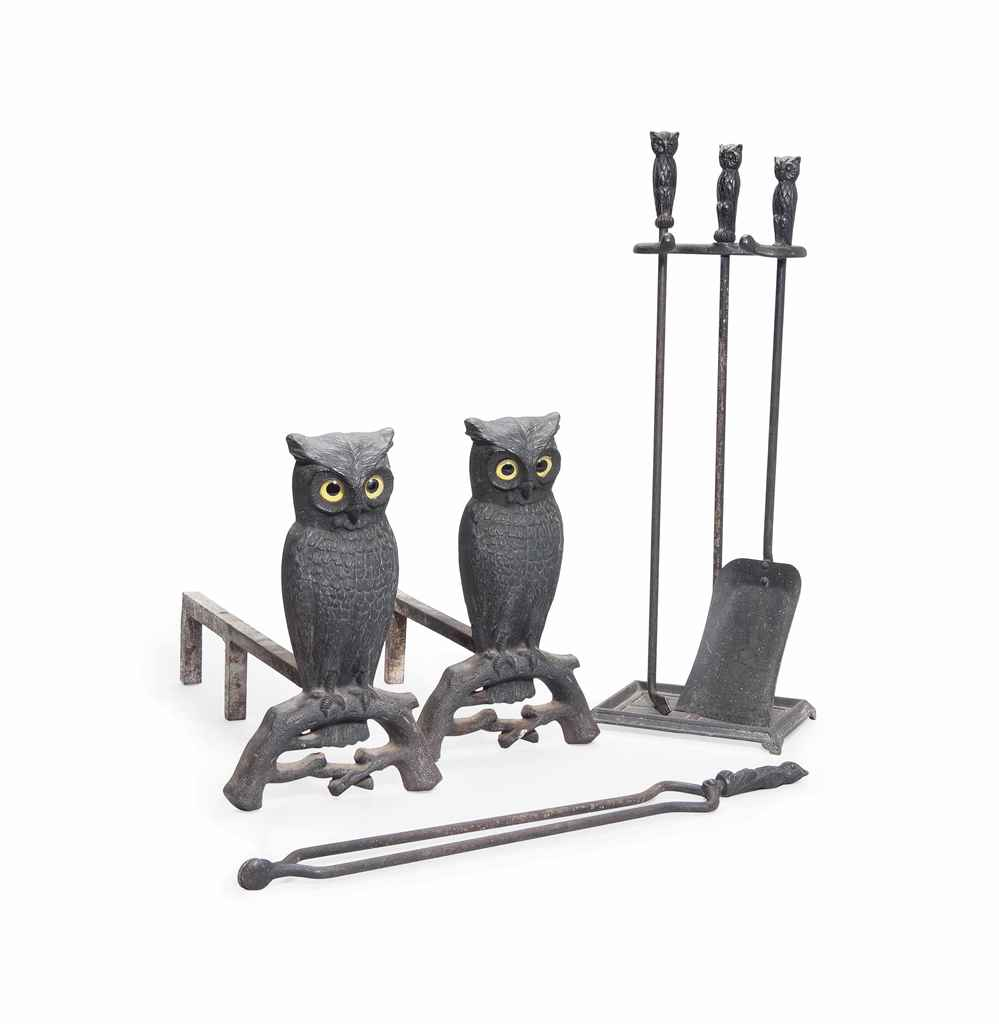 An american arts and crafts novelty iron fire tool set for Arts and crafts tools
