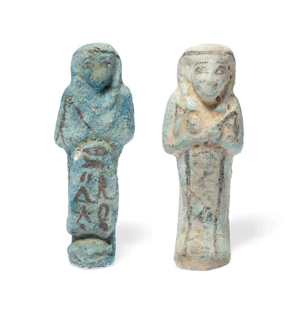 Two egyptian turquoise faience shabtis third for Faience turquoise