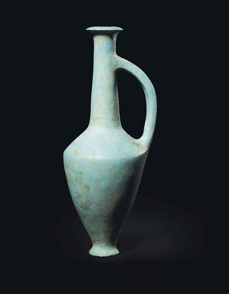 An egyptian turquoise glassy faience flask new kingdom for Faience turquoise