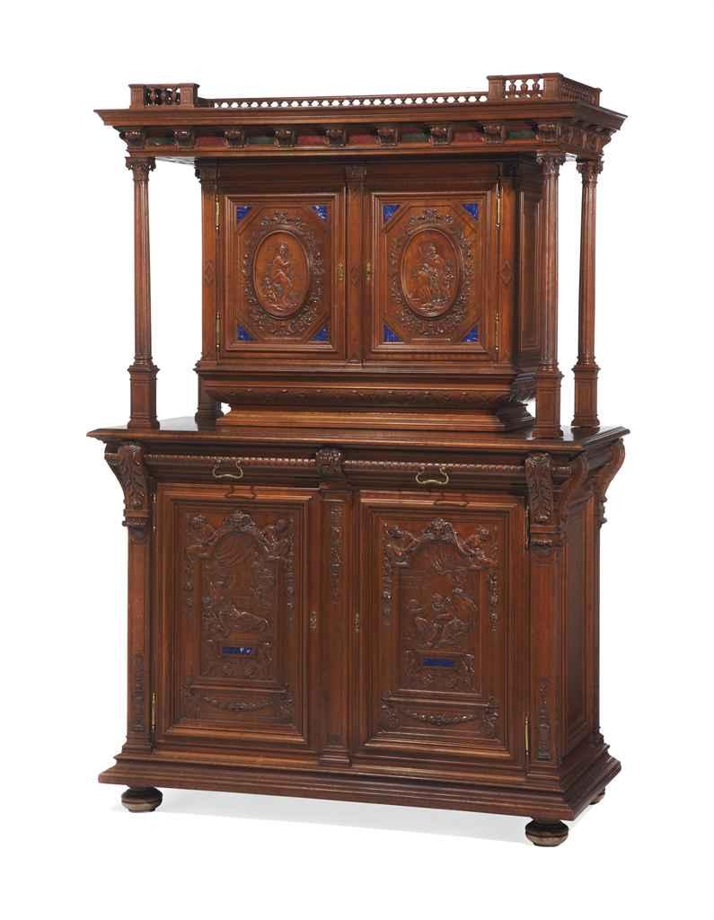 meuble a deux corps de style renaissance estampille de henri auguste fourdinois vers 1860. Black Bedroom Furniture Sets. Home Design Ideas
