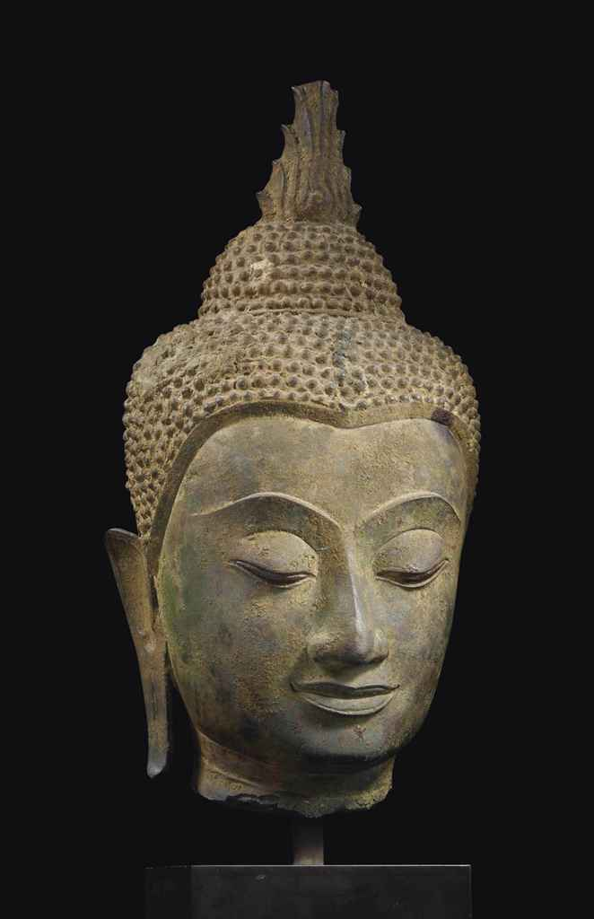 tete de bouddha shakyamuni en bronze thailande style d. Black Bedroom Furniture Sets. Home Design Ideas