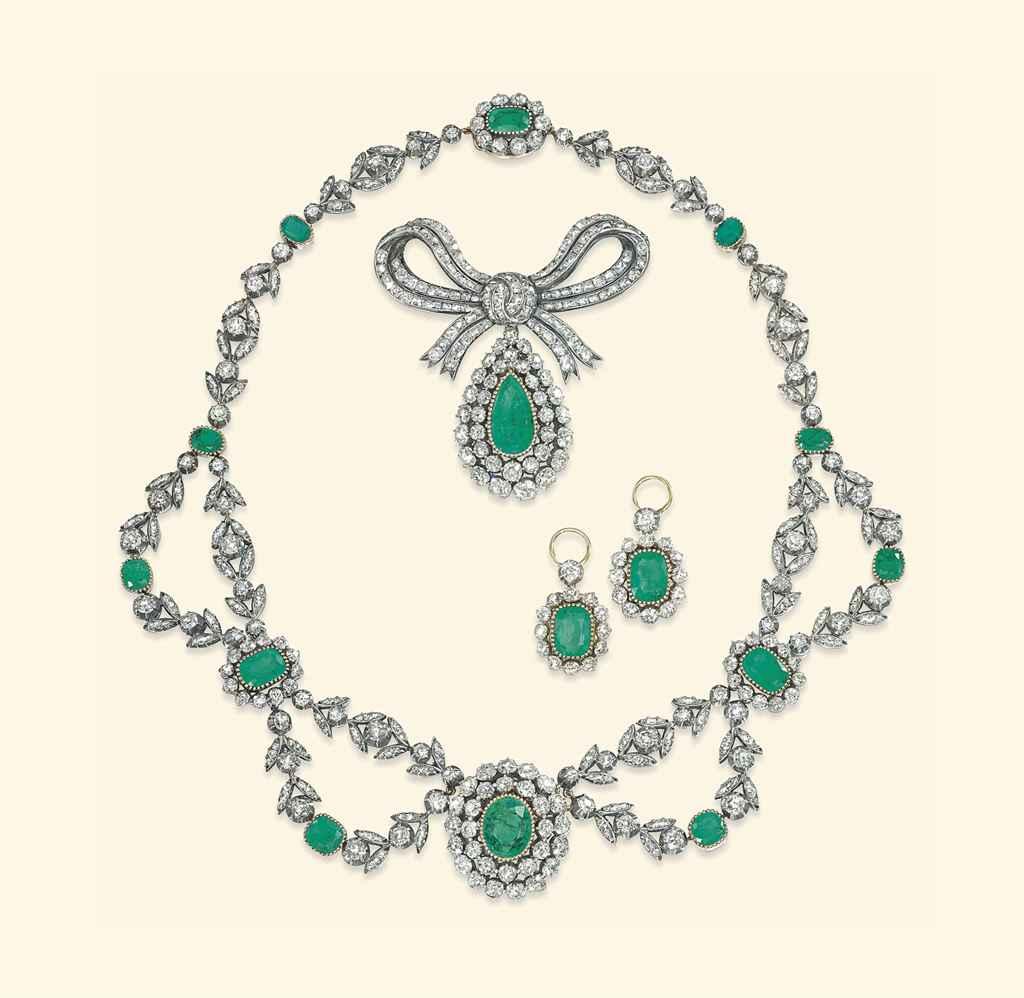 An Antique Emerald And Diamond Parure Christie S