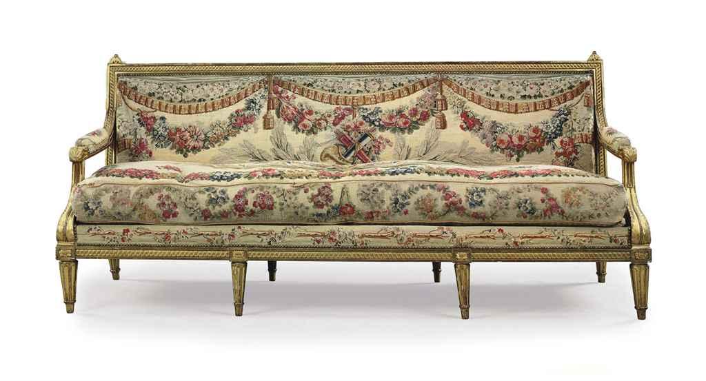a louis xvi giltwood canape by claude ii sene circa 1780 christie 39 s. Black Bedroom Furniture Sets. Home Design Ideas