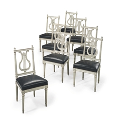 A set of eight louis xvi grey painted chaises late 18th for Chaises louis xvi occasion