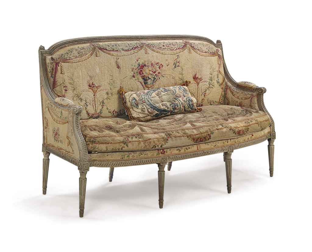 a louis xvi grey painted canape circa 1775 christie 39 s. Black Bedroom Furniture Sets. Home Design Ideas