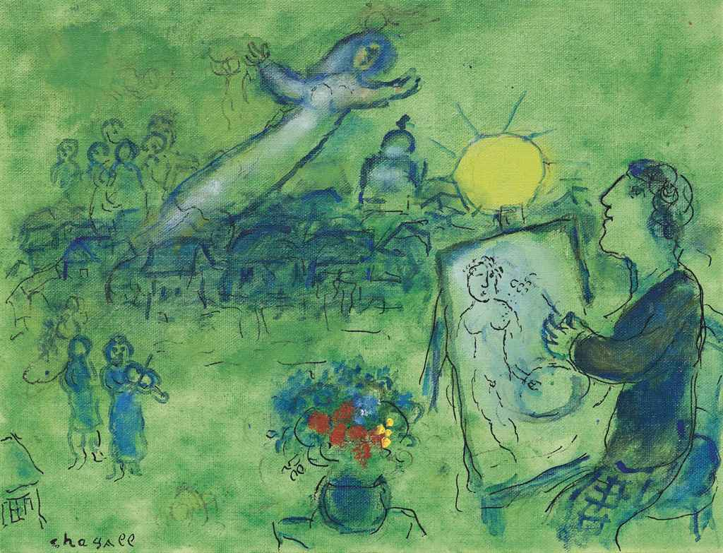 Marc chagall 1887 1985 paysage vert christie 39 s for Paysage vert