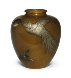 A Soft Metal Decorated Bronze Vase Meiji Period Late