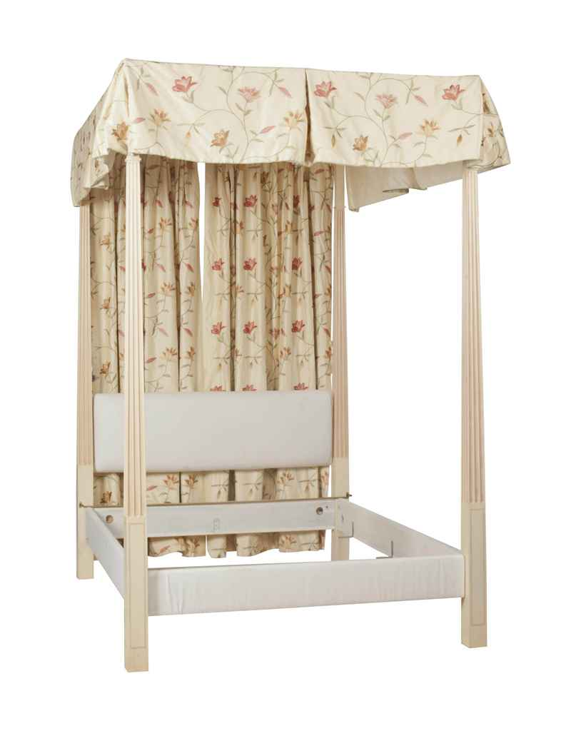 A Cream And Pink Painted Four Poster Canopy Bed William
