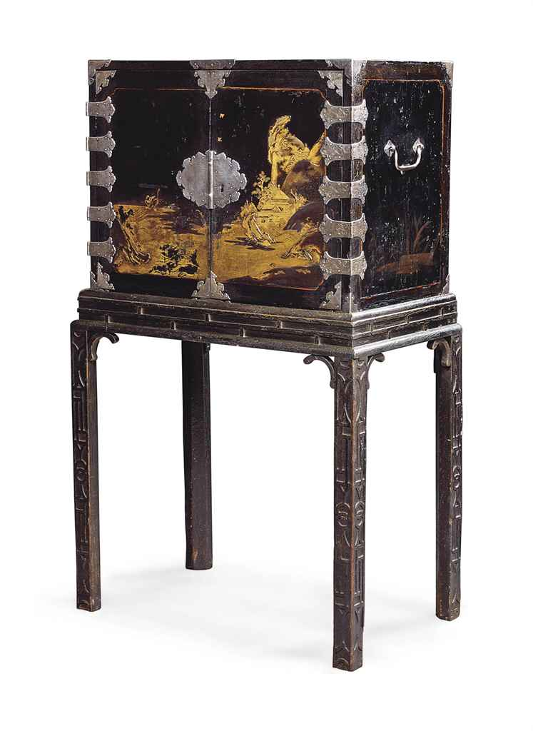A japanese silver mounted black and gold lacquered cabinet for Black and silver cabinet