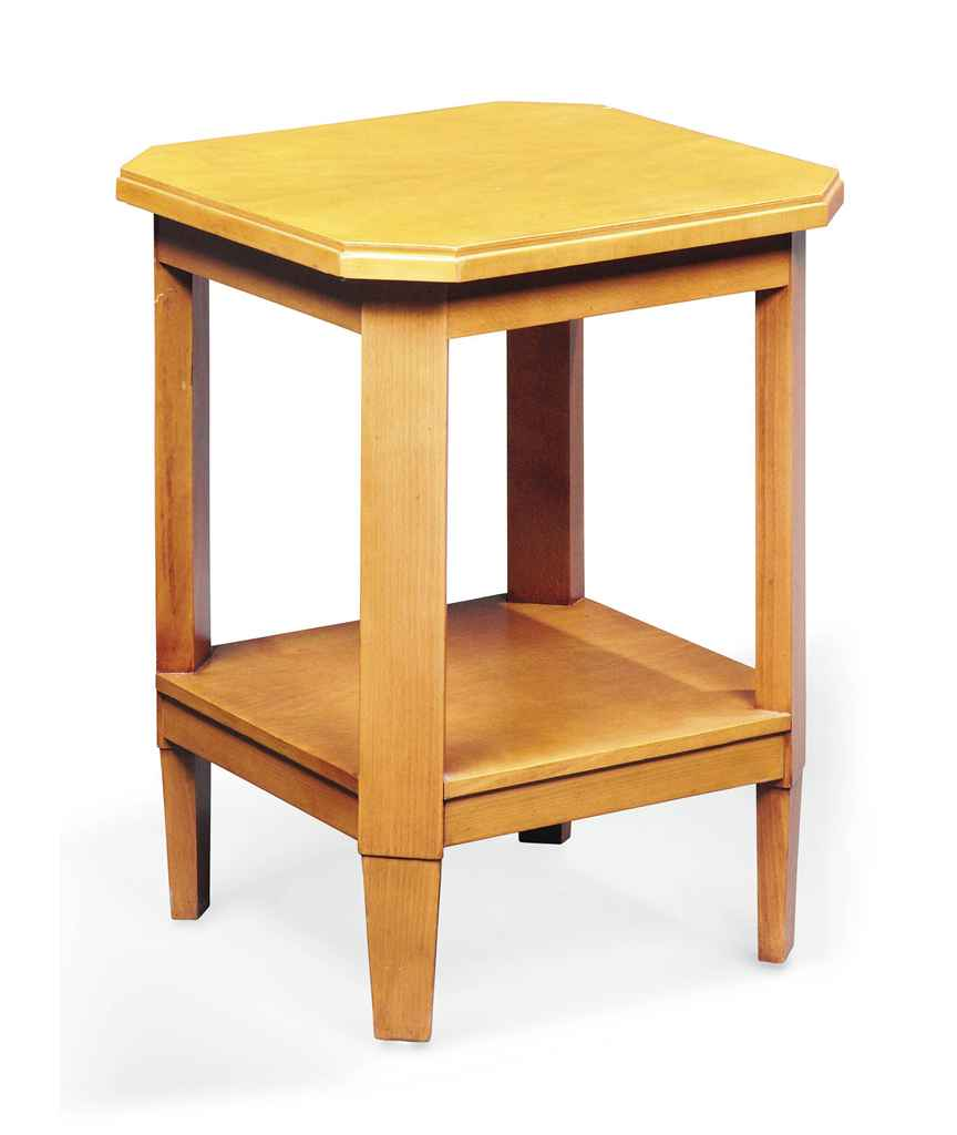 A beech wood two tier occasional table by henry van de