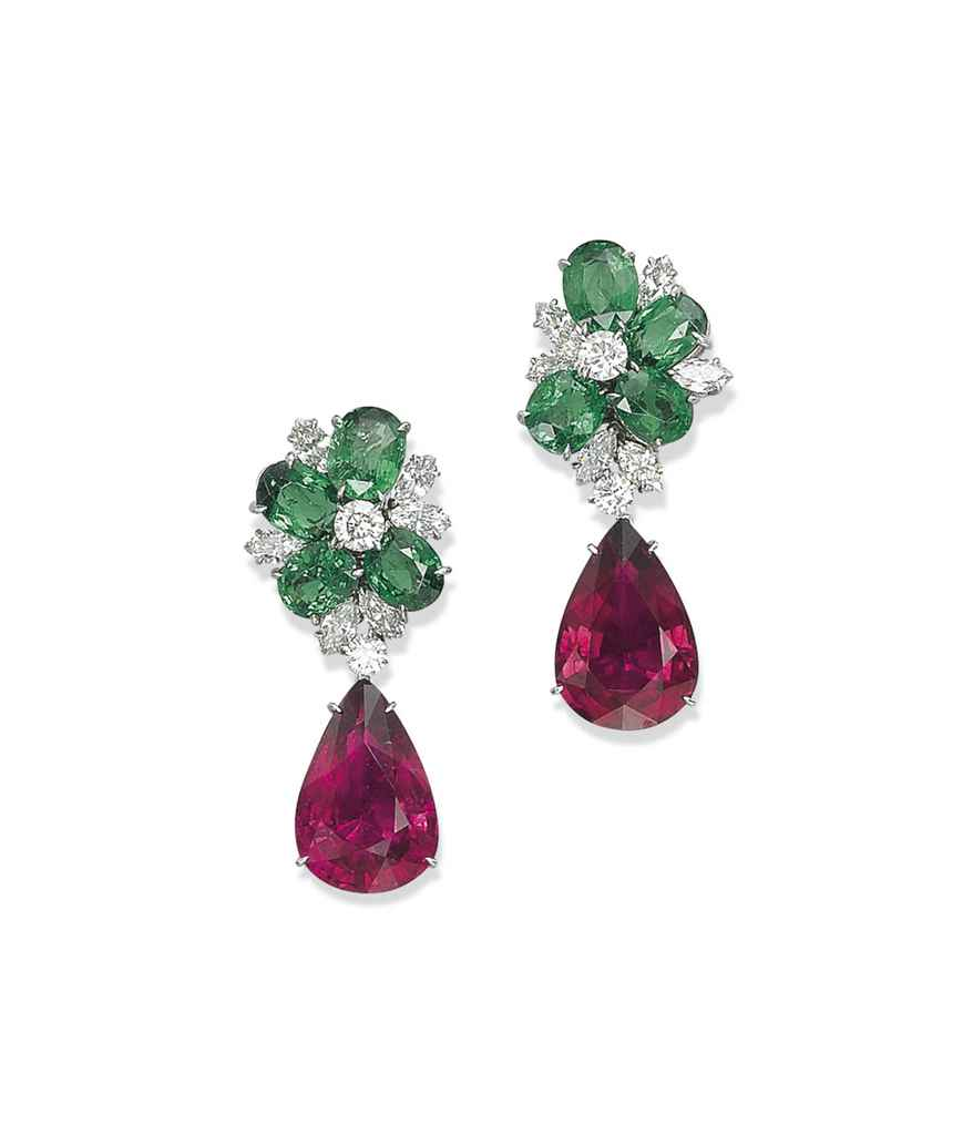 A PAIR OF TOURMALINE, GARNET AND DIAMOND EARRINGS, BY ...