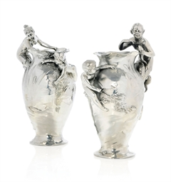 a pair of wmf silvered metal figural vases circa 1905 christie 39 s. Black Bedroom Furniture Sets. Home Design Ideas