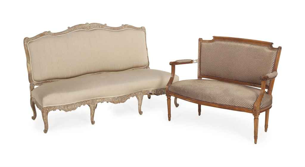 a louis xv beechwood canape and a louis xvi fruitwood. Black Bedroom Furniture Sets. Home Design Ideas