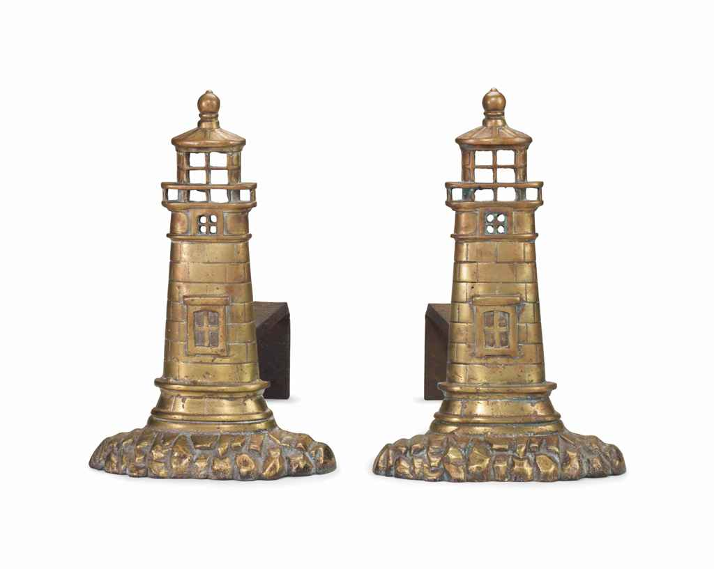 A Pair Of Cast Brass Lighthouse Andirons American 20th Century Christie 39 S