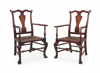 A pair of queen anne maple rush seat armchairs for Furniture r us philadelphia