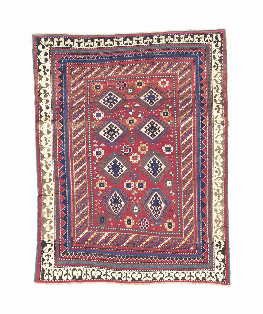 Antique Large Rug: An Unusual Antique Bordjalou Kazak Large Rug