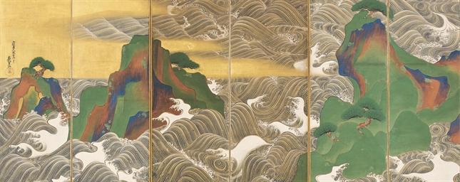 after ogata korin  19th century    waves at matsushima