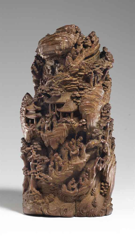 A large bamboo carving of mountain th century