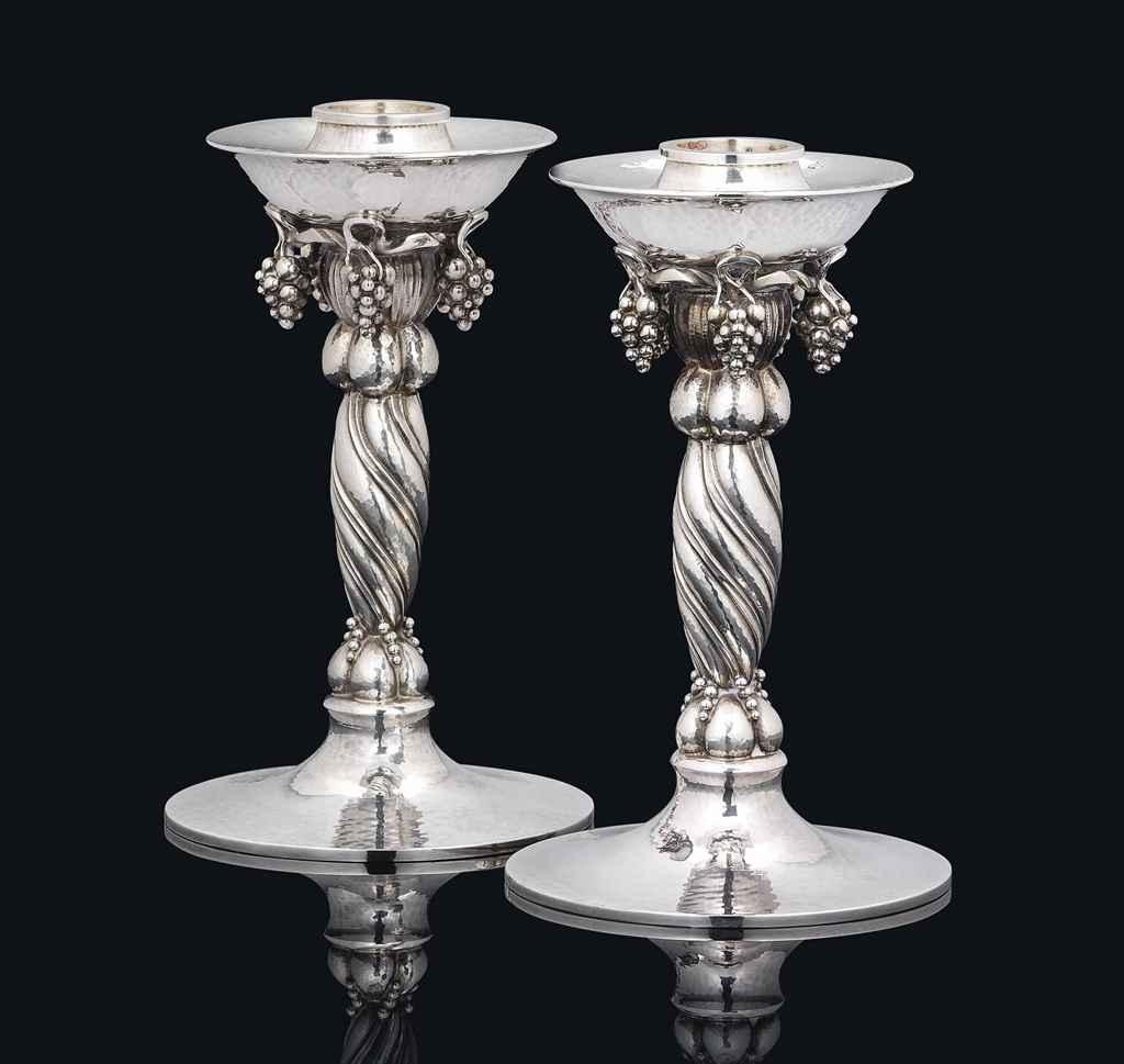 a pair of georg jensen 39 grape pattern 39 silver. Black Bedroom Furniture Sets. Home Design Ideas