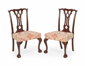 A pair of chippendale carved mahogany side chairs late for Furniture r us philadelphia