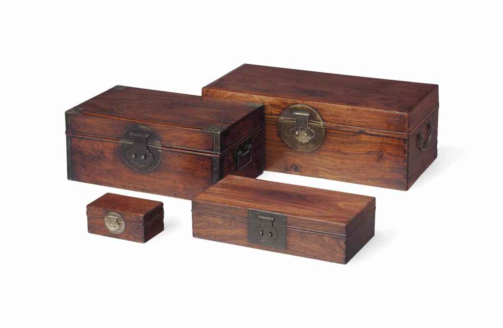 Four chinese rectangular wood storage boxes 18th 19th for Wood in chinese