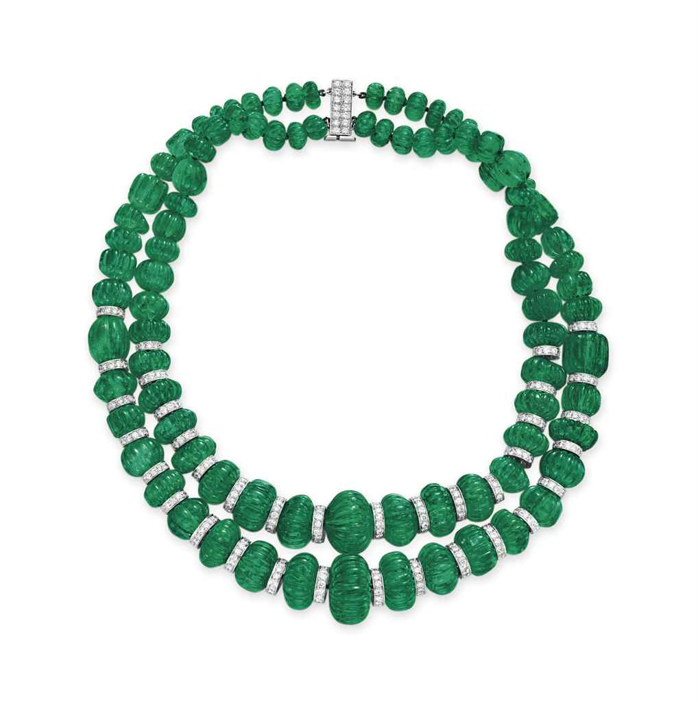 Emerald Bead Beads: A TWO-STRAND EMERALD BEAD AND DIAMOND NECKLACE, BY DAVID
