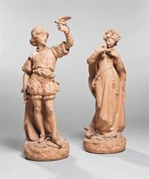 deux figures en terre cuite representant une femme et un homme paul duboy 1830 1887 france. Black Bedroom Furniture Sets. Home Design Ideas