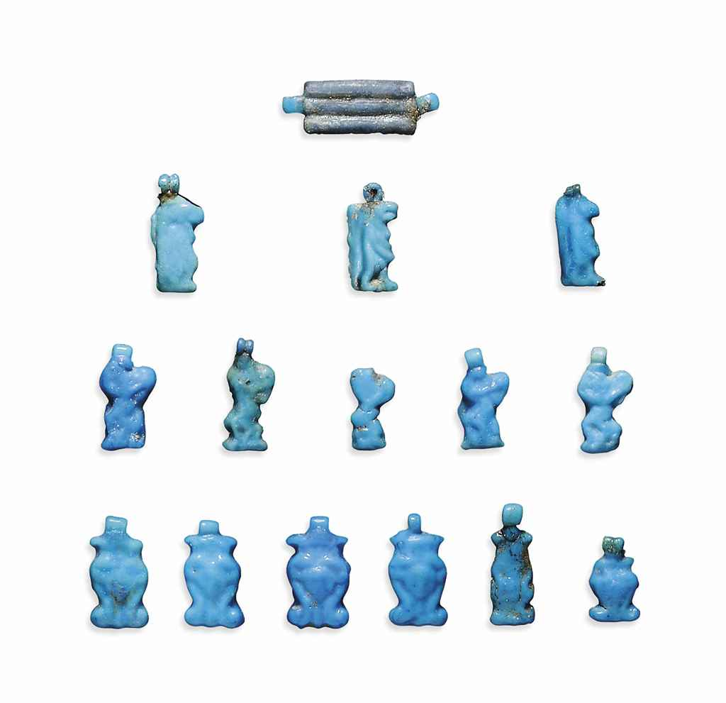 Fifteen egyptian turquoise faience amuletic pendants new for Faience turquoise