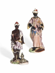 two german porcelain figures of blackamoors third quarter of the 18th century perhaps. Black Bedroom Furniture Sets. Home Design Ideas