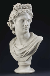 An Italian White Marble Bust Of The Apollo Belvedere