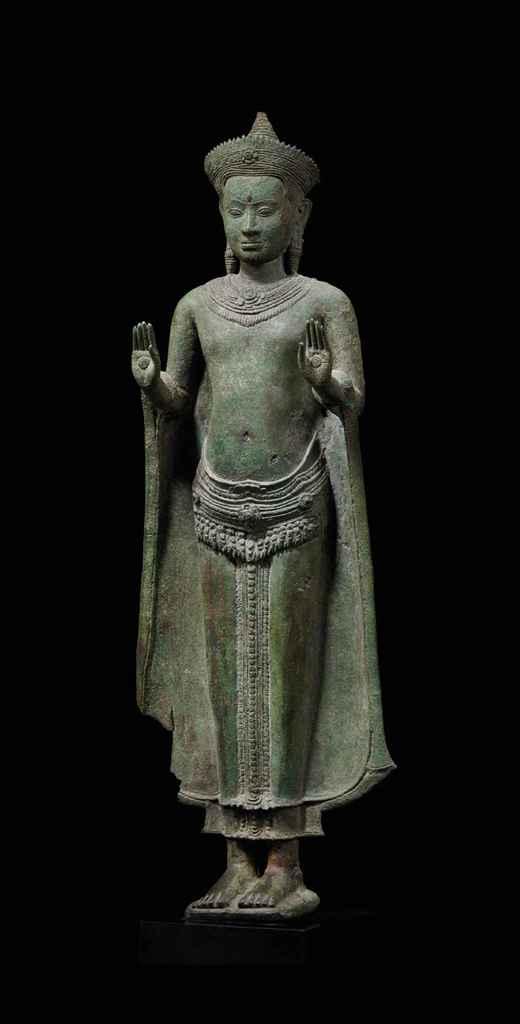 rare et importante statue de bouddha shakyamuni en bronze cambodge khmer style d 39 angkor vat. Black Bedroom Furniture Sets. Home Design Ideas