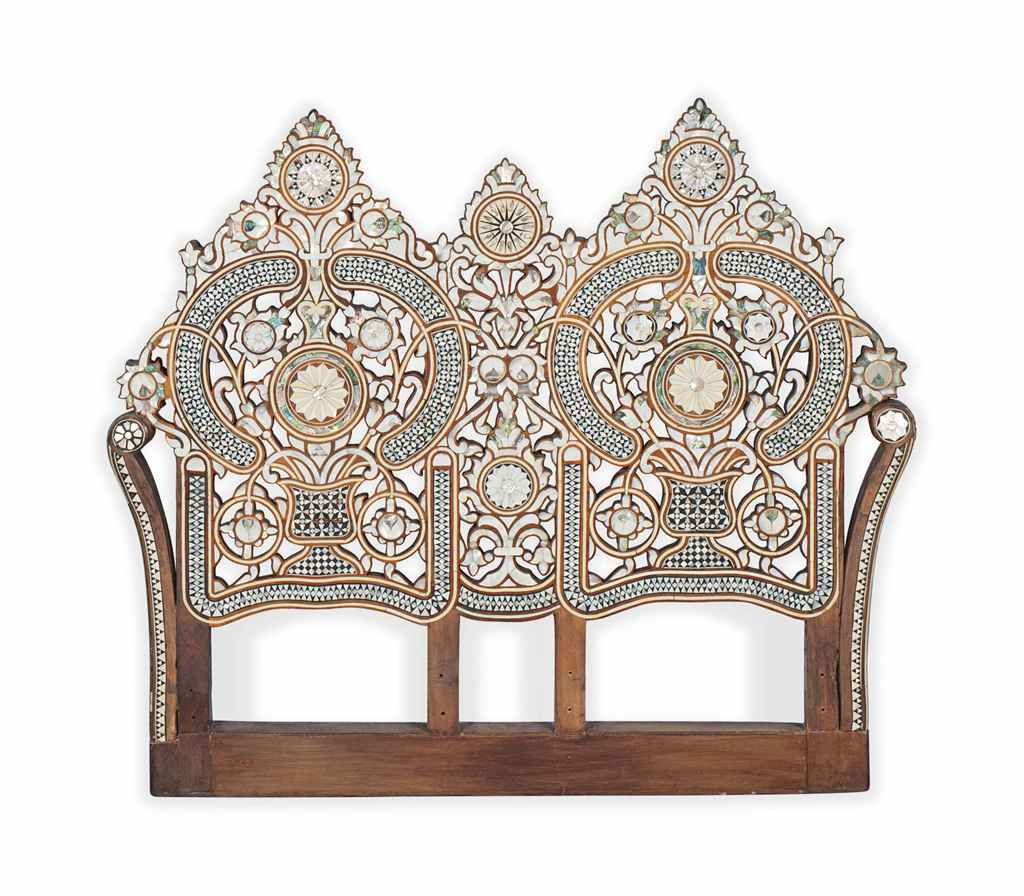King Mother Of Pearl Headboard By The Yard: A SYRIAN MOTHER-OF-PEARL AND BONE INLAID TEAK HEADBOARD