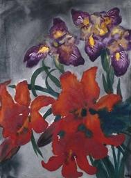 emil nolde 1867 1956 blumen mit roten und violetten bl ten christie 39 s. Black Bedroom Furniture Sets. Home Design Ideas