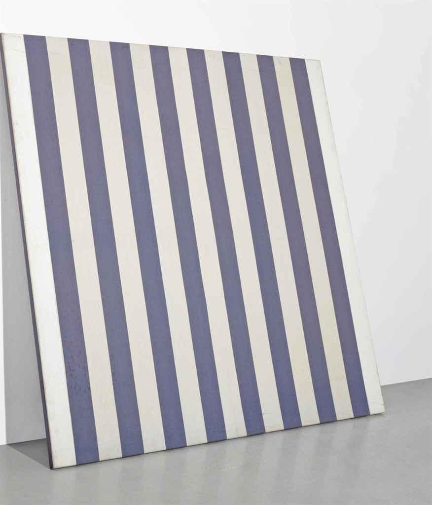 daniel buren b 1938 peinture acrylique blanche sur tissu ray blanc et bleu christie 39 s. Black Bedroom Furniture Sets. Home Design Ideas