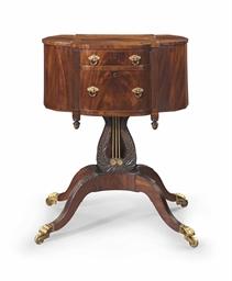 A federal mahogany lyre support work table philadelphia for Furniture r us philadelphia