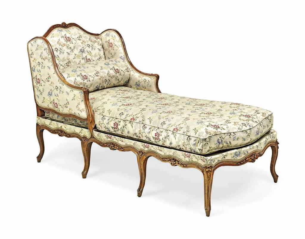 a louis xv walnut chaise longue mid 18th century. Black Bedroom Furniture Sets. Home Design Ideas