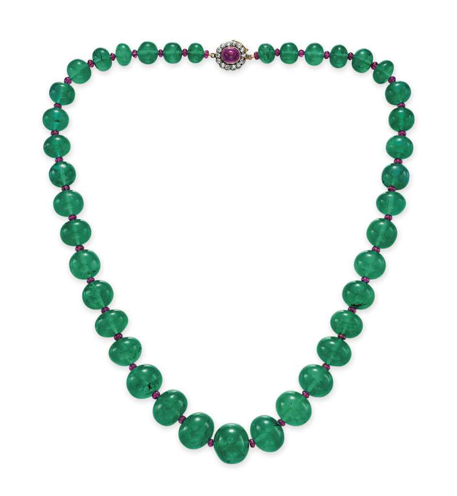 Emerald Bead Beads: AN IMPORTANT SINGLE-STRAND EMERALD BEAD NECKLACE