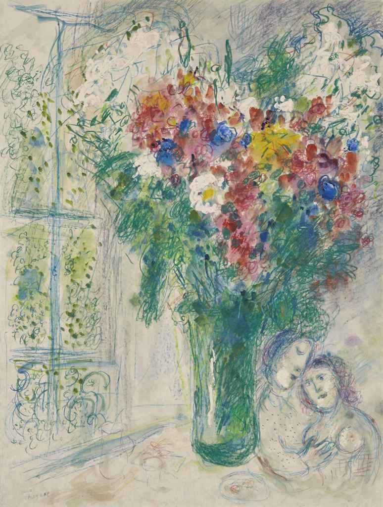 Marc chagall 1887 1985 les fleurs devant la fen tre for Fenetre english