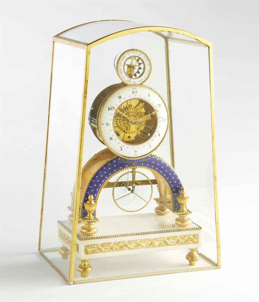 pendule squelette de la fin de l 39 epoque louis xvi signature de julien beliard datee 1792. Black Bedroom Furniture Sets. Home Design Ideas
