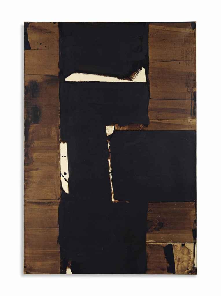 pierre soulages n en 1919 brou de noix 109 x 74 cm 1977 christie 39 s. Black Bedroom Furniture Sets. Home Design Ideas