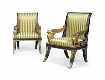 a pair of empire parcel gilt and bronzed fauteuils by georges and fran ois honor georges. Black Bedroom Furniture Sets. Home Design Ideas