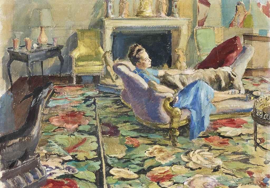 Etienne drian 1890 1973 madame elsa schiaparelli dans for Nue dans son salon