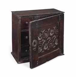 A Charles Ii Oak Spice Cupboard Late 17th Century