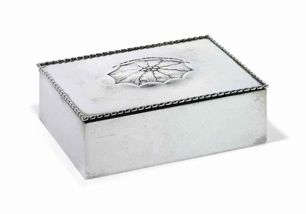 a danish cigarette box designed by georg jensen mark of georg jensen copenhagen 1920. Black Bedroom Furniture Sets. Home Design Ideas