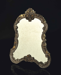 Miroir en filigrane d 39 argent attribue a johann jacob for Miroir contour argent